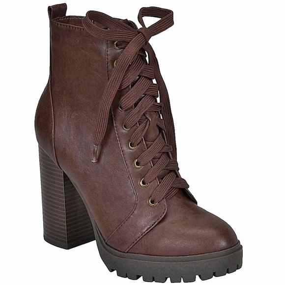 58e63e082989 Brown Combat Lace Up Platform Lug Sole Bootie Boot